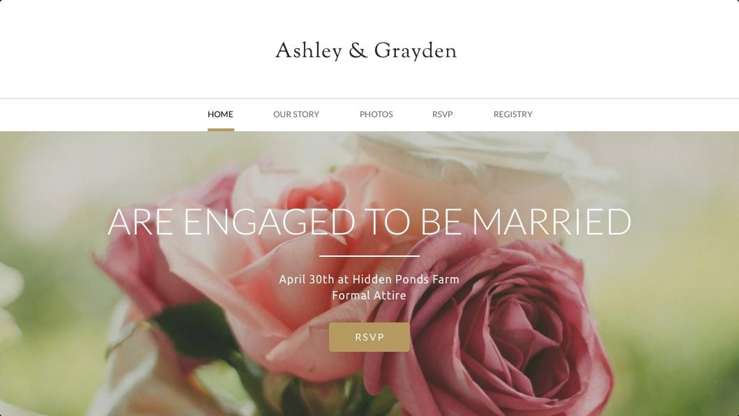 Weebly template for wedding